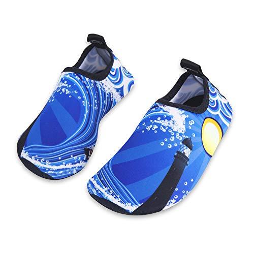 Kinder Badeschuhe Wasserschuhe Strandschuhe Schwimmschuhe Aquaschuhe Surfschuhe Barfuss Schuh für Jungen Mädchen Kleinkind Beach Pool(Blau 20 21)