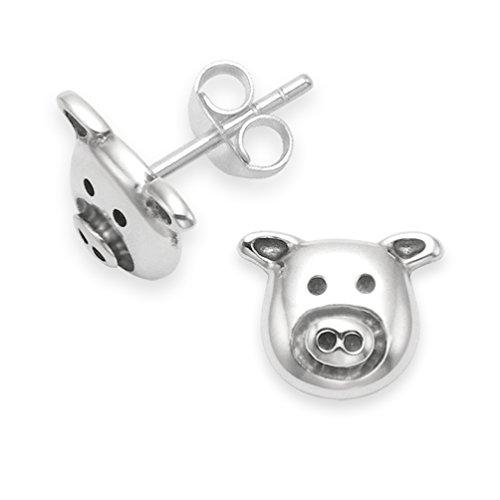 Heather Needham Ohrstecker aus Sterlingsilber, Schweinekopf-Design, 7mm, Ohrringe mit Schweine-Design in Geschenkverpackung, 5115L