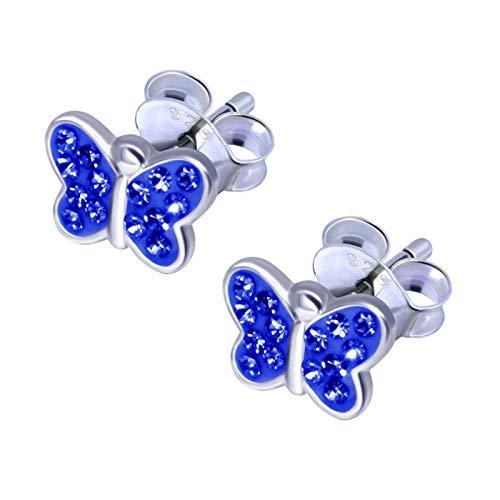 FIVE-D Kinder Ohrringe kleiner Schmetterling 925 Sterling Silber im Schmucketui (Blau-Kristall)
