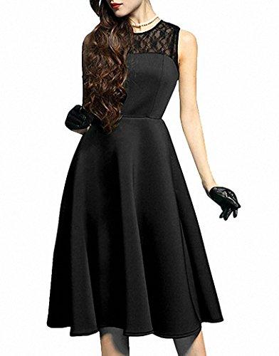 Femmes Chic Robes Sans Manches Swing Retro Cocktail Robe de Soirée Noir