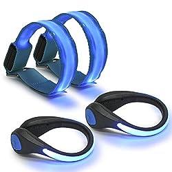 QLOUNI 2 Stück LED Armband und 2 Stück LED Schuh Clip, Hell Leuchtendes Reflective Nacht Sicherheits Licht für Laufen Joggen Running Outdoor Sports