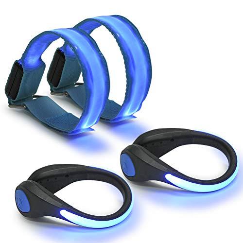 Armband und 2 Stück LED Schuh Clip, Hell Leuchtendes Reflective Nacht Sicherheits Licht für Laufen Joggen Running Outdoor Sports ()