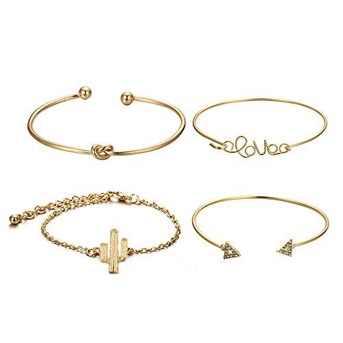 VICKY-HOHOJewelry & - Armband-4PC Knot Love Gold Eröffnung Vintage schöne Blatt Pfeil Armreif Manschette Armbänder Set