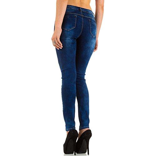 Damen Jeans, USED LOOK HIGH WAIST SKINNY JEANS, KL-J-V035 Blau