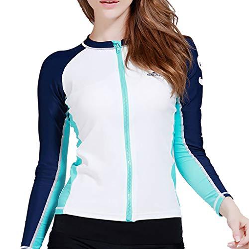 EUCoo_ Wetsuit Eucoo Damen Surfbekleidung Neopren ReißVerschluss Langarm Sonnencreme Taucherjacke Jacke Taucheranzug 3 mm(Weiß, M)
