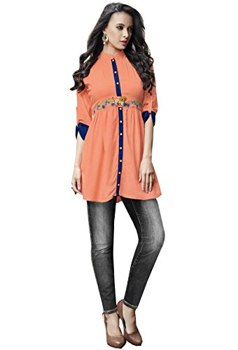 Kurti (J B Fashion Women\'S Rayon Orange Colour Kurta (k2027))