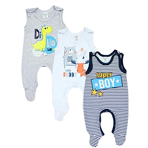 TupTam Baby Jungen Strampler mit Aufdruck Spruch 3er Pack, Farbe: Farbenmix 1, Größe: 62