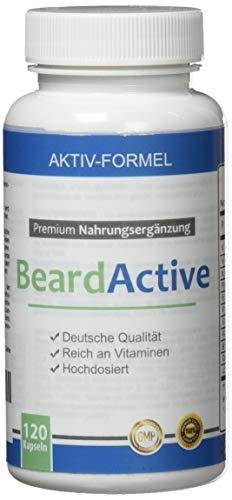 BeardActive - Multivitamin und Mineralien Komplex - MADE IN GERMANY - 120 Kapseln hochdosiert - mit Biotin, Vitamin B2, Vitamin B12, Calcium und vieles mehr - Helle 100 Kapseln