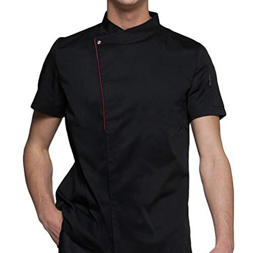 Dexinx Männer Chefs Elegante Jacke Mantel Hotel Küche Uniform Kurzarm Food Service Koch Arbeitskleidung Schwarz L