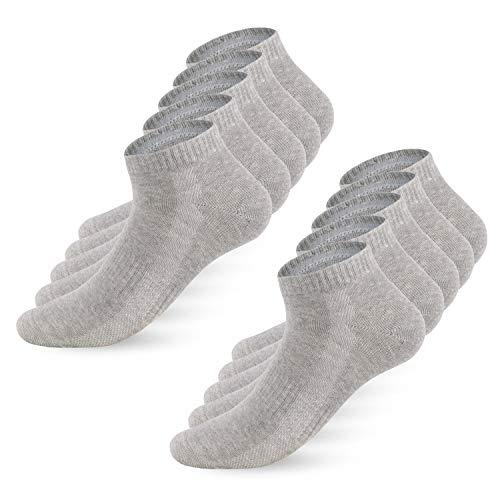 YouShow Sneaker Socken Herren Damen 10 Paar Sportsocken Kurze Halbsocken Baumwollsocken Unisex Atmungsaktiv_Grau_39-42