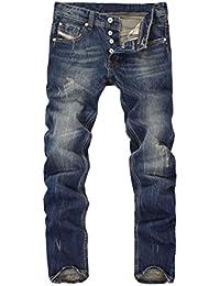 Yiiquan Hombres Casual Roto Mezclilla Pantalones Clásico Rasgados Vintage Jeans Pantalon Corto W52qI