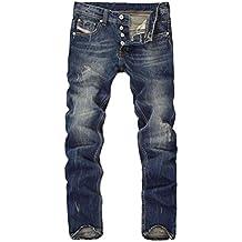 Hombres Clásico Pantalones Rasgados Vintage Casual Vaqueros Roto Estilo
