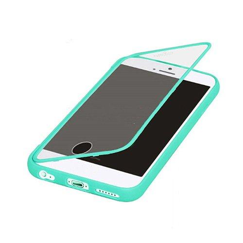 F8Q antichoc Robuste Colorful Hybrid Transparent Window caoutchouc flip étui de protection pour iPhone 6S plus vert