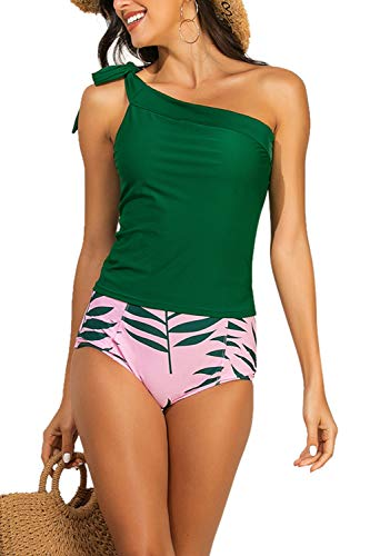Zexxxy Tankinis Damen Grosse Groessen Zwei Stück Badeanzug Schwimmen Kleidung Push Up Grün XXL (46)