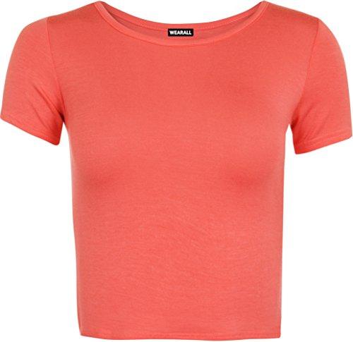 WearAll - Neu Damen Kurzarm Crop Top Rundhalsausschnitt Elastisch Ladies Büstenhalter Unterhemd - Koralle - 36 / 38