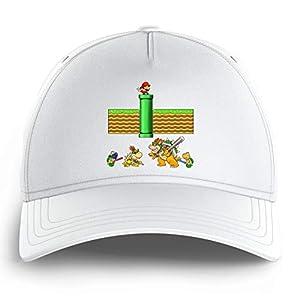 OKIWOKI Super Mario Lustiges Schwarz Kinder Kappe – Mario, Bowser, Bowser Jr und Koopa Troopa (Super Mario Parodie…