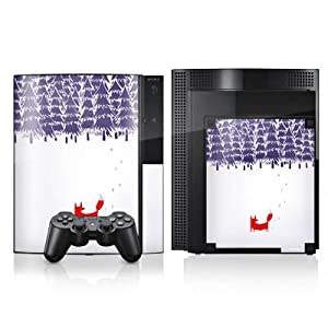 DeinDesign Skin kompatibel mit Sony Playstation 3 PS3 Aufkleber Folie Sticker Wald Forest Fox