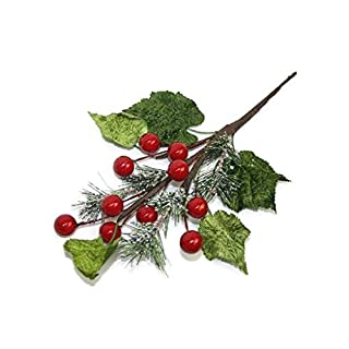 AFS Artificial Needle Pine & Red Berry Christmas Pick x 26cm