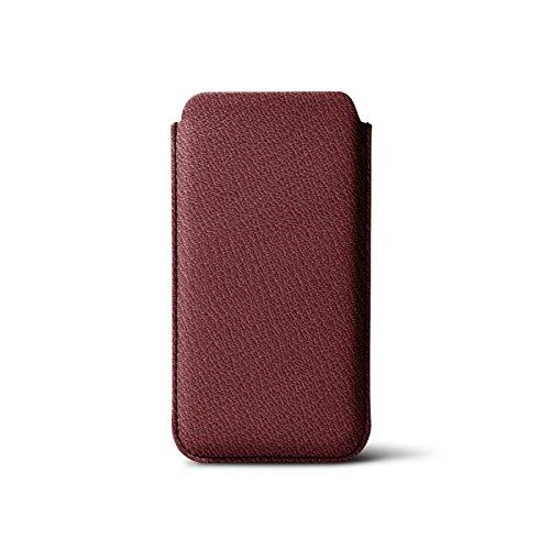 Lucrin - IPhone 5/5S/SE Schutzhülle mit zünglein - Rosa Lachs - Ziegenleder Weinrot