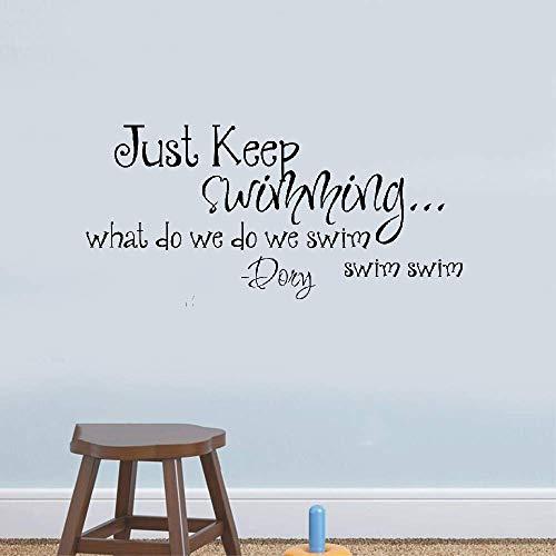 mer Schwimmen Sie einfach weiter Was schwimmen wir? Dory Zitat Baby Kinderzimmer Kinderzimmer Aufkleber Inspiration Zitat ()