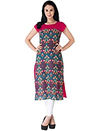 M&D Casual Cotton Printed Women's Kurtistraight (Pink)