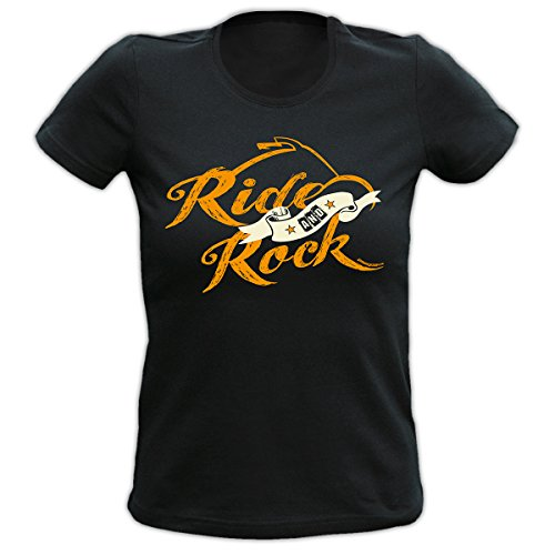 4Girls Damen T-Shirt <->          Ride and Rock          <->           Fun Geschenk, Goodman Design® Schwarz Schwarz