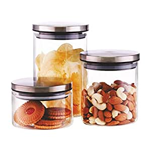 Famacart Classic Glass Jar Set, 3-Pieces 300/600/900/ Ml/Container & Holder