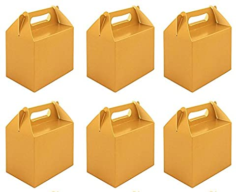 6 x Gold Paper Lunch Box Going Home Present Picnic Boxes