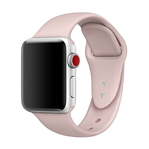Vagar Apple Watch Armband 38mm, Weiches Silikon Sport Schlaufe Handgelenk Uhrband Ersatz Armreif Uhrenarmband für iWatch Apple Watch Series 3, Series 2, Series 1, Edition, S/M Größe (Sandrosa)