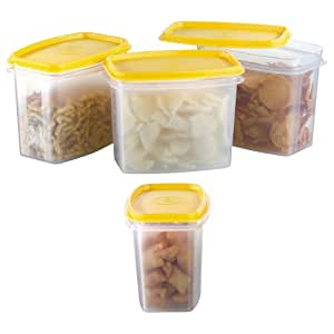 Prime Housewares Storewel Food Saver Container, 1000ml, 4 Pcs Set, Yellow