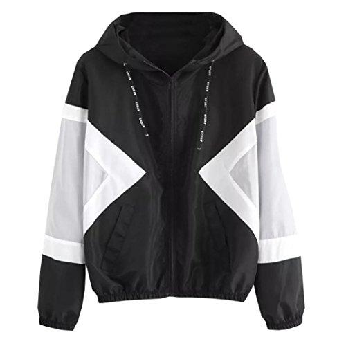 MCYs Frauen Damen Mode Herbst Sport Jacke Langarm Windbreaker Lose Freizeit mit Kapuze Reißverschluss Outwear Baseball Jacket Bedruckt mit Taschen (S, Schwarz)