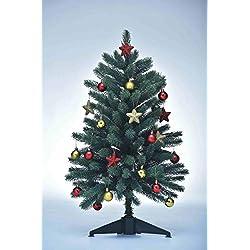 Xenotec PE- Weihnachtsbaum künstlich ca. 85 cm hoch mit 70LED- warmweißes Licht- mit Baumdekoration (Rot/Gold)
