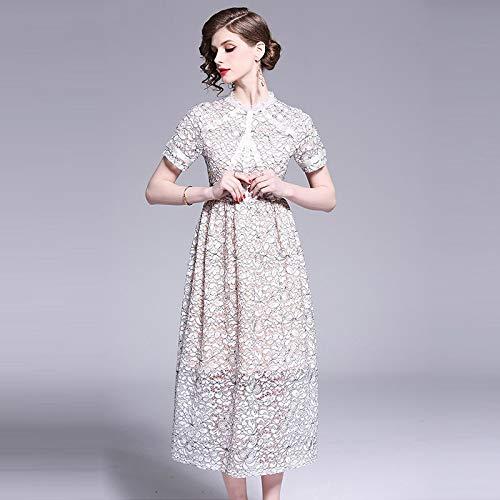 Bestickte Baumwoll-voile Kleid (QUNLIANYI Abikleider Lang Langes Kleid Mit Spitze Blass Bestickt Short Sleeve Kleider Frauen Elegant Maxi Dress Female M)