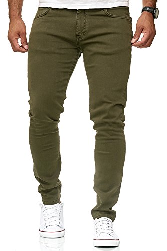 Red Bridge Herren Jeans Hose Slim-Fit Röhrenjeans Denim Colored Khaki W32 L32