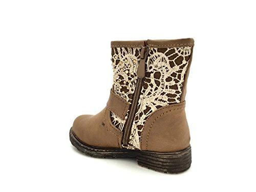 """CHIC NANA . Chaussure Fille Mode Bottine """"Maude"""", semelle renforcée, bride cheville, motif style dentelle strasse. Kaki"""