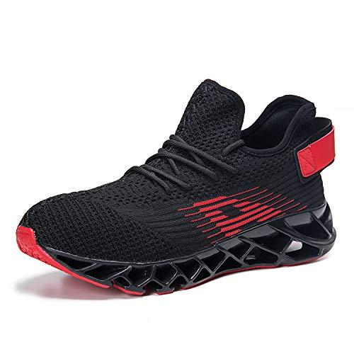 Herren Laufschuhe Fitness straßenlaufschuhe Sneaker Sportschuhe atmungsaktiv Rutschfeste Mode Freizeitschuhe (Schwarz rot,47)