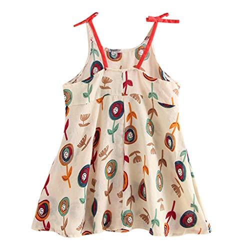 Kleinkind Vater Kostüm - JERFER Prinzessinenkleid Kleinkind Kleinkind Baby Mädchen Karikatur Blumen Ärmellos Gurt Kleid Outfits 12M-5Y