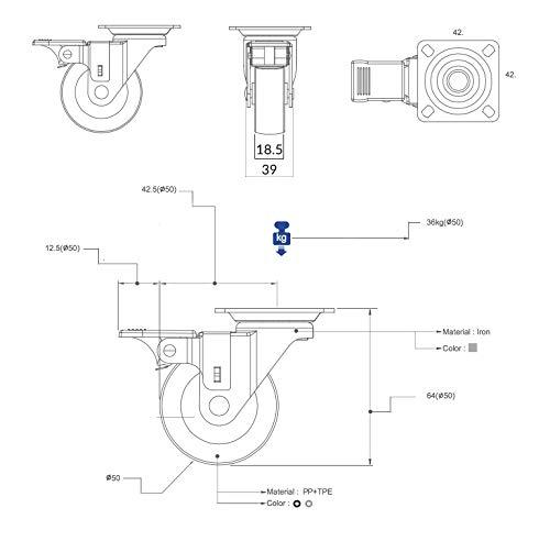 41hmMOgEU7L - QC EY50R22P 4 Ruedas para muebles 2 con freno y 2 sin freno. Diámetro 50mm con placa de montaje y tornillos incluidos. No marca el suelo. Silenciosa. Cojinete Liso. (ROJO)