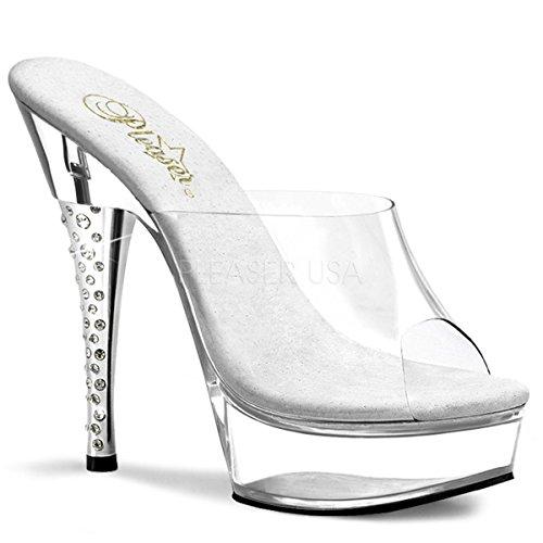PleaserUSA Gogo-Platform High Heels Diamond-601 Klar/Weiß/Klar