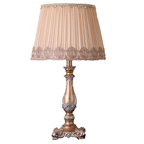 Tischlampe im europäischen Stil, 13-Zoll-Stoff-Nachttischlampe, handgefertigt, Prinzessin im viktorianischen Stil, harzbraune Lampe, Schreibtischlampe mit Leuchtenkörper, E27 / E26 - Lampe Viktorianische Tisch Lampe