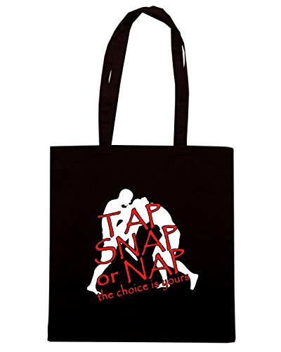 T-Shirtshock - Borsa Shopping TAM0177 tap snap or nap the choice i dark tshirt Nero
