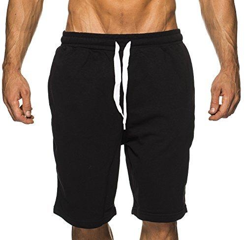 LEIF NELSON Herren Fitness Short Jogginghose; Grš§e XXL, Schwarz