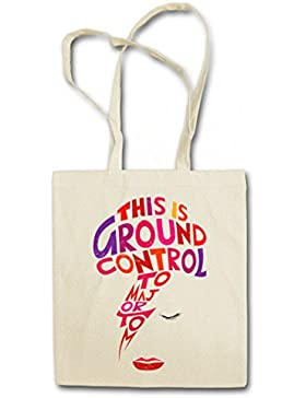 """MAJOR TOM """"J"""" Hipster Shopping Cotton Bag Borse riutilizzabili per la spesa – Ziggy David Ground Control Bowie..."""