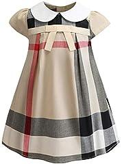 Idea Regalo - Socluer Vestito Cotone Manica Corta Gonna con Stampa ad Arco Abito Principessa Casual Vestiti Bambina