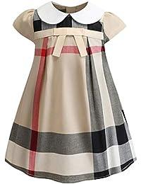 413eac89519bee Socluer Vestito Cotone Manica Corta Gonna con Stampa ad Arco Abito  Principessa Casual Vestiti Bambina