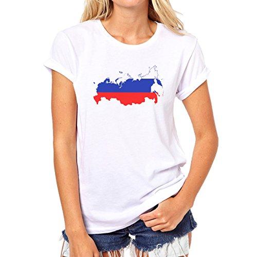 Russia Country Symbol Put In Map Damen T-Shirt Weiß