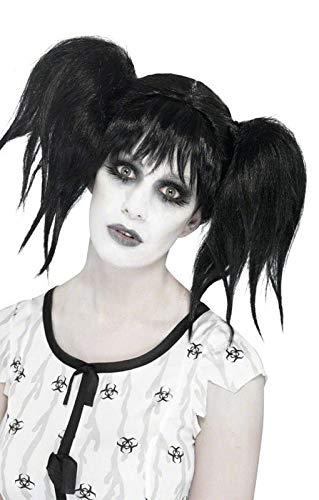 ücke mit Zöpfen schwarz Halloween Perücke ()