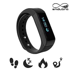 endubro i5 plus Fitness Armband – fitness tracker – smart bracelet – Smartwatch für Android Smartphone und iPhone, Schrittzähler, Push-Message und Anrufer – ID Benachrichtigung (Schwarz)