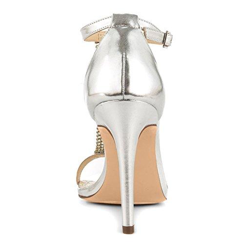 Onlymaker Damen Satin Open Toe T-Spange Sandalen Stiletto High-Heels Silber