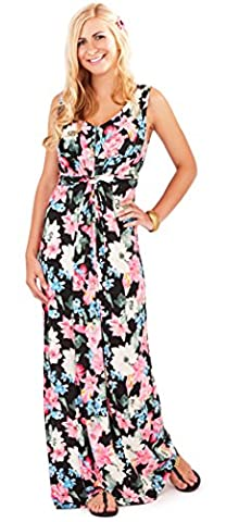 Gorgeous Ladies Tropical Flower Print Sleeveless Maxi Dress Summer Beach Holiday, Black/Pink, Small